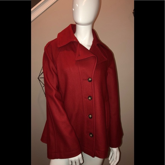 New Nautica Red Wool Swing Pea Coat Small Nwt